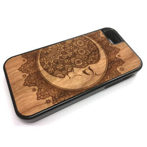 best website a6c0f 4ed67 Details about Crescent Moon Henna iPhone Case Real Wood Engraved iPhone  X/XS, 8, 7, 6, 5 5C