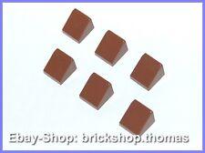 Lego 6 x Dachstein braun (1 x 1) - 50746 - Slope Brick Reddish Brown - NEU / NEW