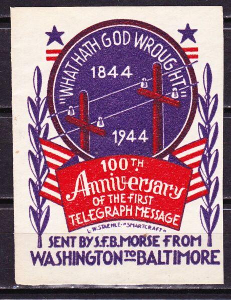 100th Anniversaire De La Première Telegrapaph Message ~ 1944 ~ Lavage Pour Baltimore
