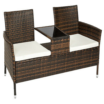 Poly rattan bench with glass table garden furniture 2 seats wicker patio brown