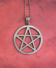 Lrg. Pewter Pentagram Necklace - Pentacle Magic Symbol Occult Pantacle Evocation