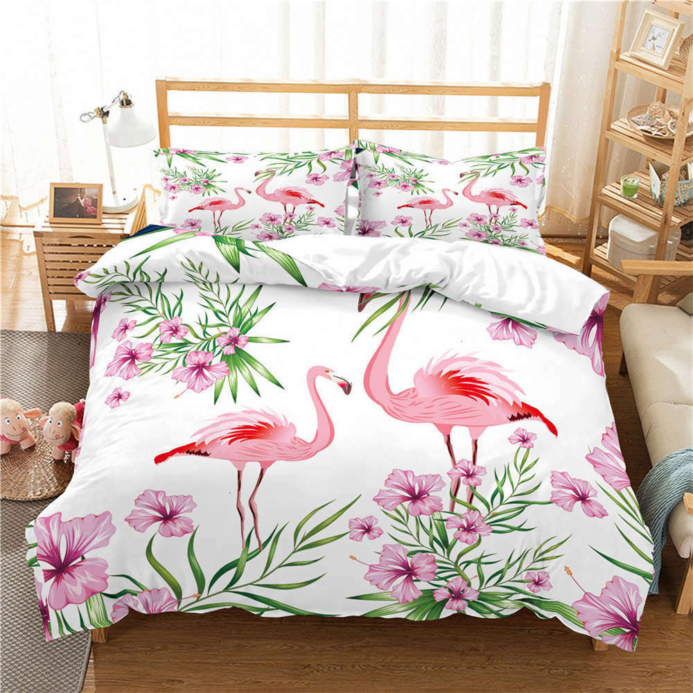 Birds Twitter Nice Flowers3D Digital Print Bedding Duvet Quilt Cover Pillowcase