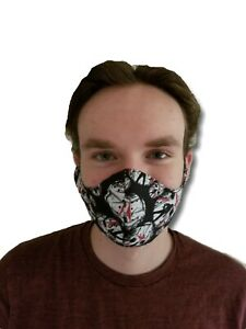 100% cotton face mask lined with filter mesh lining.Black ...