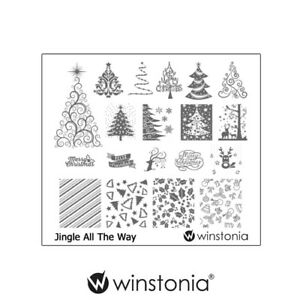 Winstonia-Nail-Art-Stamping-Image-Plate-Disc-JINGLE-ALL-THE-WAY-Christmas-Winter