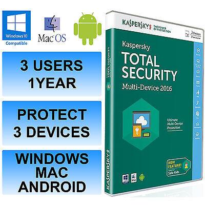 Kaspersky Insgesamt Internet Security 2016 Multi Device 3 User 1 Year DVD