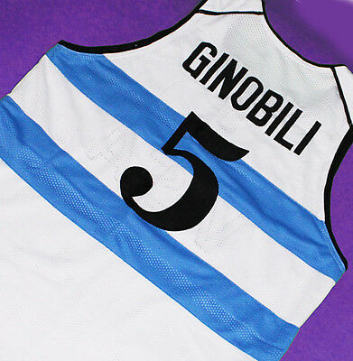 new concept 8d556 89ea2 MANU GINOBILI TEAM ARGENTINA JERSEY WHITE SEWN NEW ANY SIZE ...
