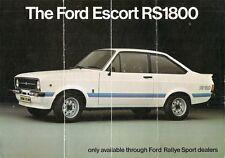 Ford Escort RS 1800 Mk2 1975-76 plegable de mercado del Reino Unido Folleto de ventas