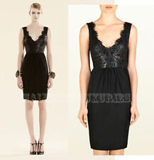 $1,550 GUCCI DRESS BLACK LACQUERED LACE DETAIL DEEP V-NECKLINE XS EXTRA SMALL
