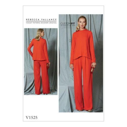 Vogue Sewing Pattern V1525 para mujer de Top y Pantalones plisado de costura diagonal