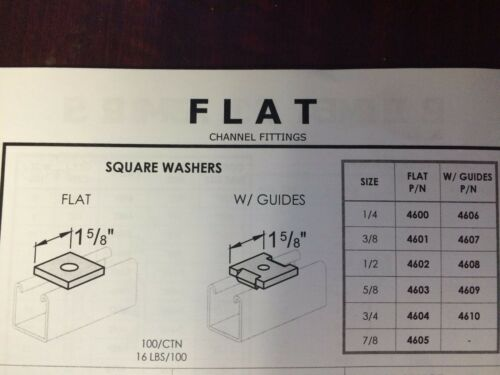 """P1063 3//8/"""" Stainless Steel Square Washers for Unistrut Channel 100 BX 4601S1"""