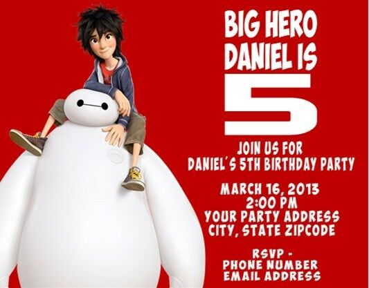 Big Hero 6 Personalized Custom Birthday Party Invitations For Sale Online