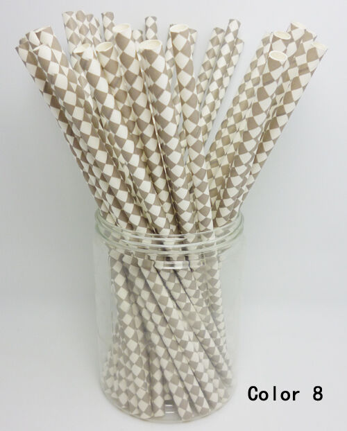 25 PCS Diamond Pattern Paper Straws Drinking Straws For Wedding Party Color 8