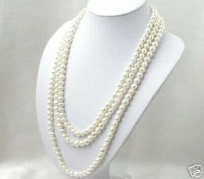 Fancy 7-8mm White akoya Pearl Necklace 80 inch
