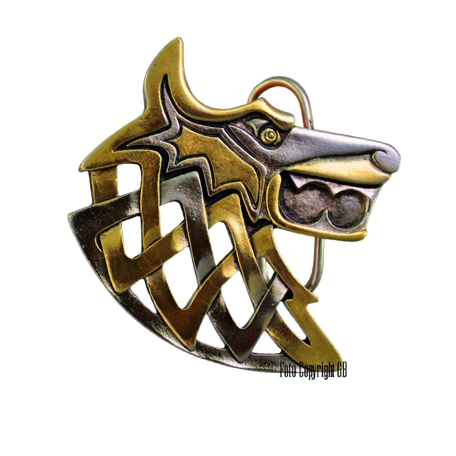 Wolf Buckle Tribal Wikinger Mittelalter Gürtelschnalle Keltisch *425 gold