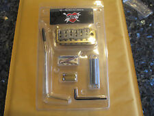 MIGHTY MITE 2 POST GOLD STRAT GUITAR BRIDGE + HARDWARE - STEEL BLOCK and SADDLES
