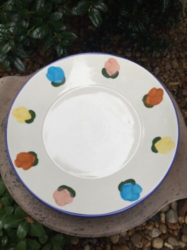 VINTAGE COORS CHINAPOTTERY BOWL WITH COLORFUL FLOWERS INGLEWOOD CA. 12 12""