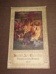 VINTAGE 1942 CHARLES OTTMAN & FAMILY CHERRY VALLEY NY SACRED ART  WALL CALENDAR