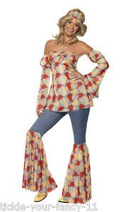 Women-039-s-1960-039-s-70-039-s-Vintage-Hippy-Fancy-Dress-Costume-Woodstock-Hen-Festival-Do