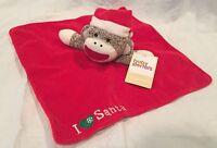 Sock Monkey Snuggle Buddy, I Love (heart) Santa, Red Satin Lined Blanket F/s