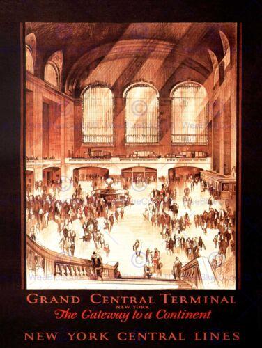 TRAVEL GRAND CENTRAL TERMINAL STATION RAIL NEW YORK USA VINTAGE POSTER 2387PY