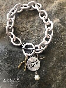 LOVE-Wishbone-Angel-Wing-Matte-Silver-Chunky-Charm-Link-Toggle-Clasp-Bracelet
