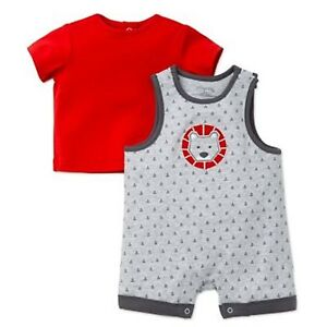 5a6d38283 Offspring 2-Piece Lion Shortall and T-Shirt Set in Grey Red Size 9 ...