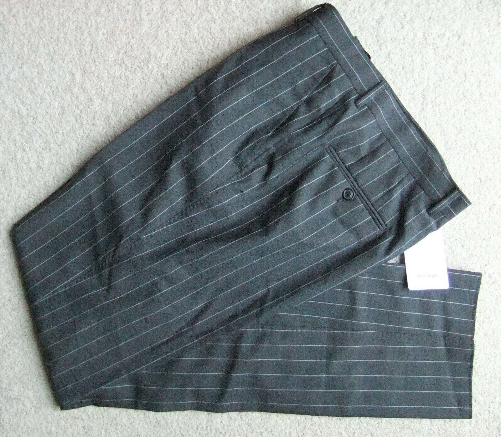 "Brand New – Paul Smith dark grey pinstripe trousers 44"" regular"