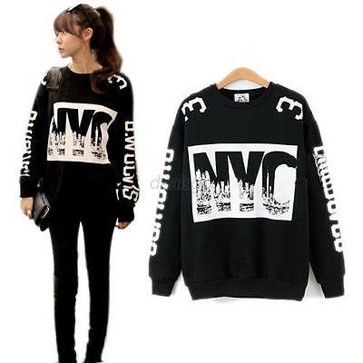 Pullover NYC Print Sweater Long Sleeve Shirt Thicken Sweatshirt Warm Womens Tops