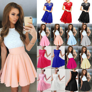 Us Womens Lace Short Dress Cocktail Party Evening Formal Gown Prom