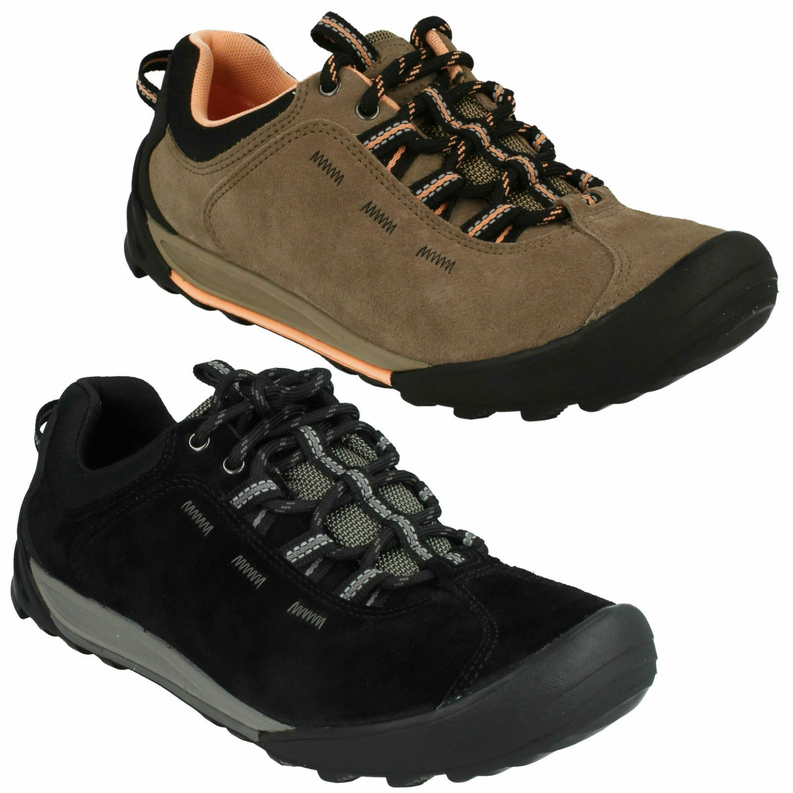 OUTLAY WEST LADIES CLARKS LACE UP CASUAL WALKING LEATHER  TRAIL TRAINERS Schuhe