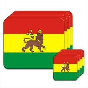 Ethiopia-Flag-Set-of-4-Placemats-amp-Coasters