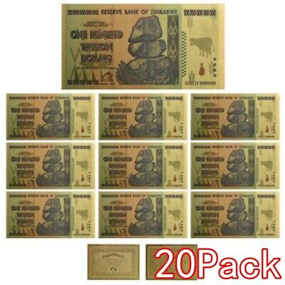 20 Pieces Zimbabwe 100 Trillion Dollar Note Golden Foil Banknote Collection