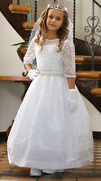 Formal Christening Gown White Flower Girl Dress Confirmation 1st Communion