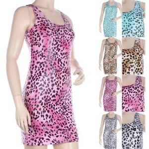 8de9cb4963 Women s Mini Dress SHINY Leopard Animal Print Sexy Club Sleeveless ...