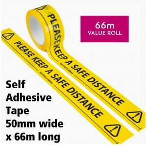 Social Distancing Floor Tape Yellow 48mm x 66m Please Keep A Safe Distance