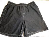 Trader Bay Sz Xl Board Short Black In & Back Pockets 38w Stretch Drawstring