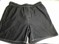 Trader Bay Sz Xl Swim Trunks Black In & Back Pockets 38w Stretch Drawstring