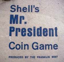 SHELL OIL CO MR PRESIDENT COIN GAME 1968 FRANKLIN MINT ALUMINUM COINS LOT/4 MIP