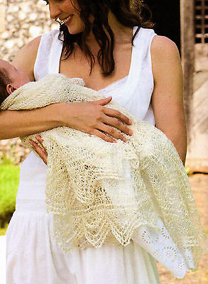 Silk Baby Christening Shawl ~ Diamond Pattern~Intricate Border- Knitting Pattern