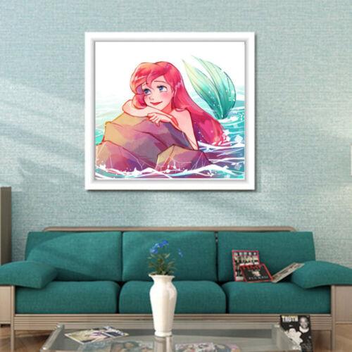 Full Drill 5D Diamond Painting Mosaic Cross Stitch Cartoon Mermaid Embroidery