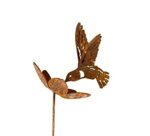 Hummingbird-In-Flower-Garden-Stake-Yard-Art-Hummingbird-Gift-Metal-Sculpture
