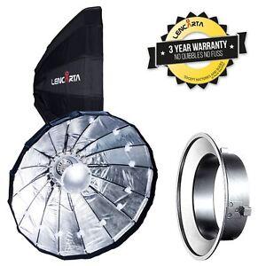 Folding-Beauty-Dish-80cm-Silver-Lencarta-Bowens-Flash-fit-w-Honeycomb
