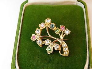 Vintage-Gold-tone-Flower-Rhinestone-Pastel-color-Brooch-Pin-1b-40