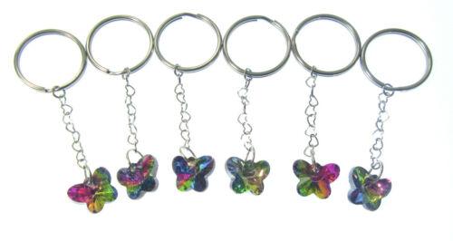 Confezione da 6 a Farfalla GLASS Key Chain regali favori di partito borse,