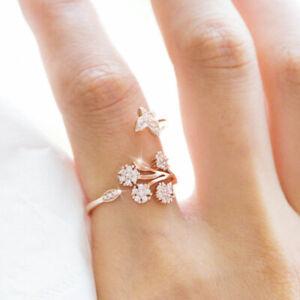 Flower-Women-039-s-Wedding-Rings-925-Silver-Rose-Gold-White-Sapphire-Ring-Adjustable