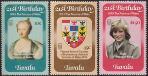 (D12)TUVALU 1982 21ST BIRTHDAY OF PRINCESS DIANA SET 3V FRESH MNH