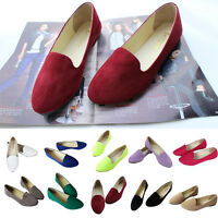Women Girls Casual Comfy Soft Candy Color Flat Shoes Suede Ballet Flats Shoes