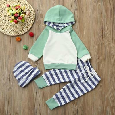 3pcs Toddler Baby Kids Boy Girl Clothes Set Hoodie Tops+Pants+Headband Outfits