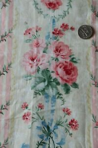 Pretty-French-Antique-c1880-Cotton-Pink-Roses-amp-Blue-Ribbon-Printed-Fabric-19-034-Sq