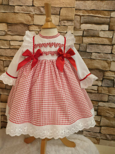 DREAM VALENTINES HEARTS RED GINGHAM LINED  DRESS 0-6 YEARS OR REBORN DOLLS